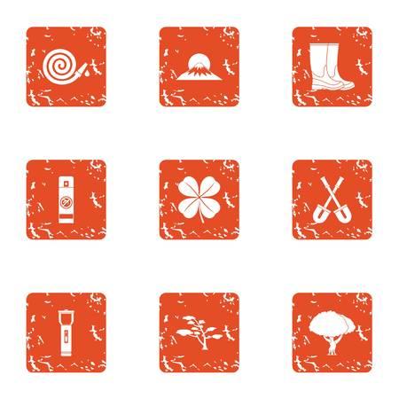 Walk the area icons set, grunge style Illustration