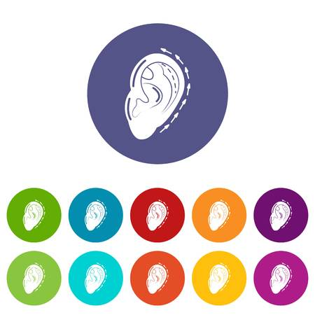 Ear reduction icons set vector color