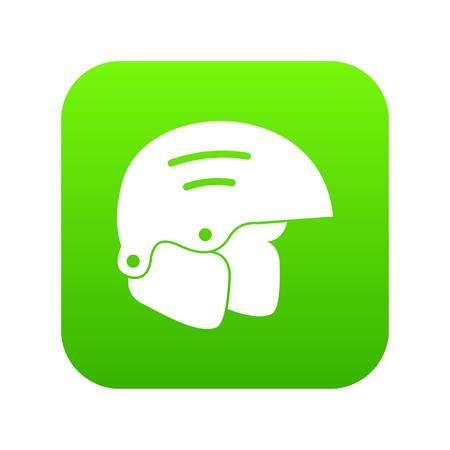 Snowboard helmets icon digital green