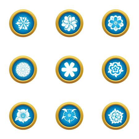 Passionflower icons set, flat style