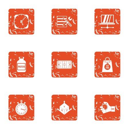 Dimensional icons set, grunge style Illusztráció