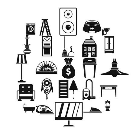 Quarters icons set, simple style