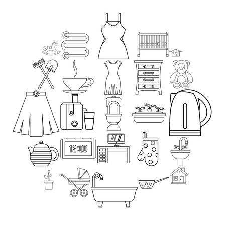 Large room icons set, outline style  イラスト・ベクター素材