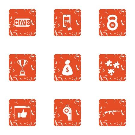 Computer reward icons set, grunge style