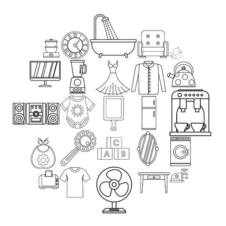 Large dining room icons set, outline style  イラスト・ベクター素材