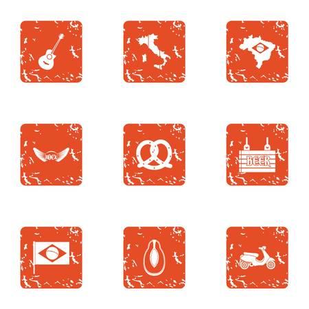 Country pleasure icons set, grunge style Illustration