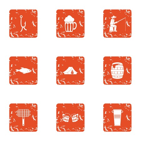 Angling icons set, grunge style Vettoriali