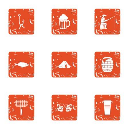 Angling icons set, grunge style Illustration