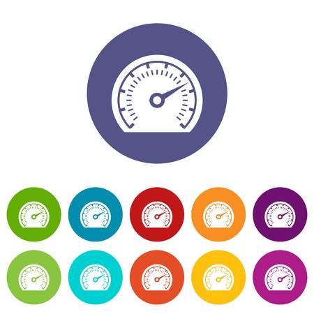 Speedometer icons set vector color Illustration