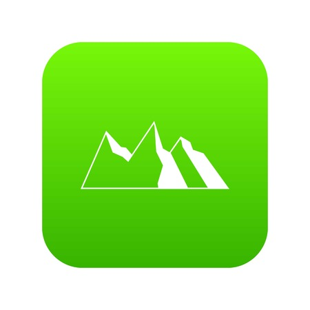 Mountains icon digital green