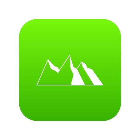 Mountains icon digital green
