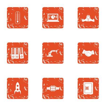 Modality icons set, grunge style