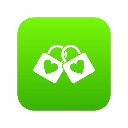 Two locked padlocks with hearts icon digital green