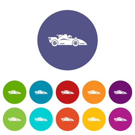 Racing car icons set vector color