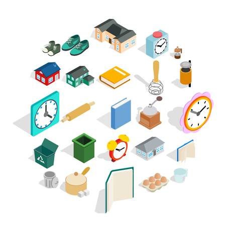 Home library icons set, isometric style