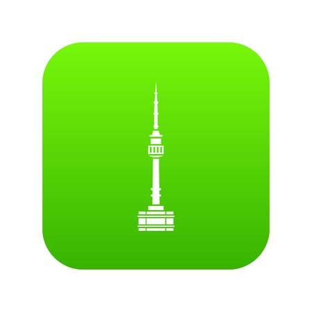 Namsan tower in Seoul icon digital green  イラスト・ベクター素材