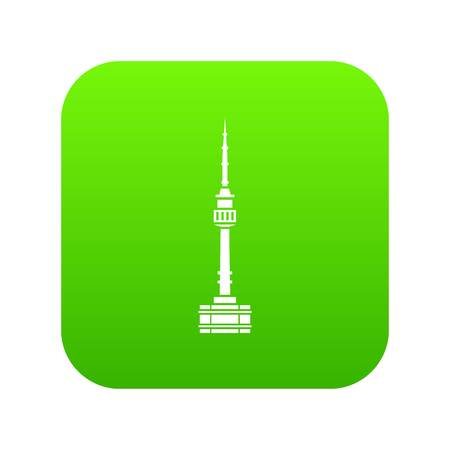Namsan tower in Seoul icon digital green Illustration