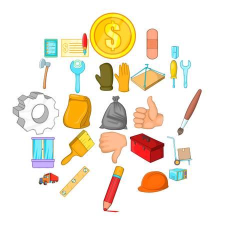 Home renovation icons set, cartoon style