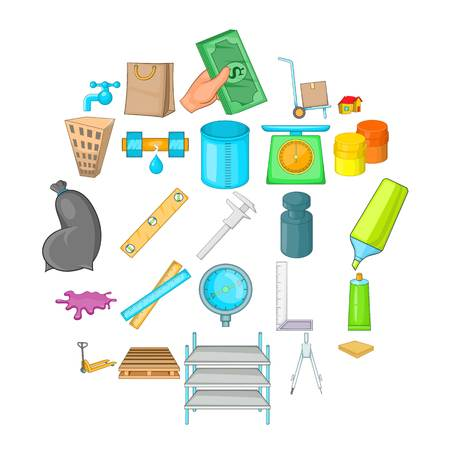 Home repair icons set, cartoon style