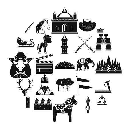 Horse icons set, simple style