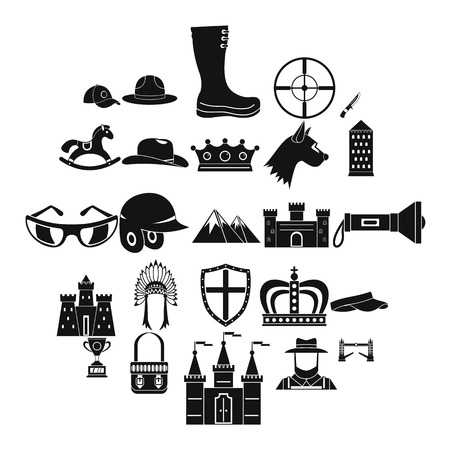Equestrian icons set, simple style Illustration