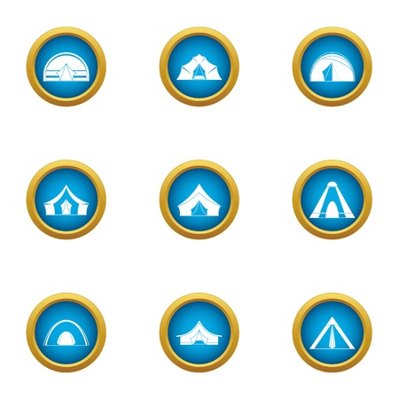Tent city icons set, flat style