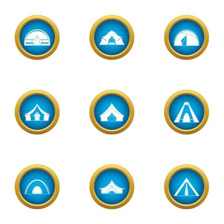 Tent city icons set, flat style