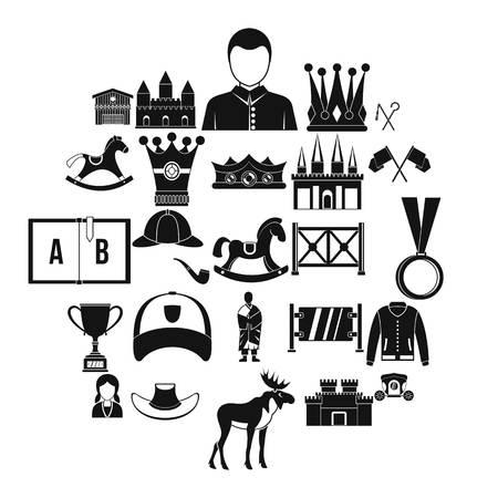 Horsemanship icons set, simple style Illustration