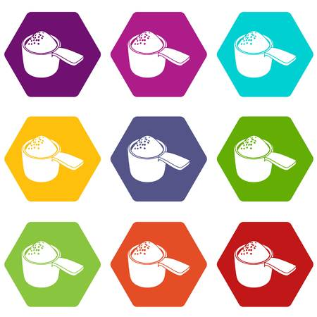 Detergent dose icons set 9 vector