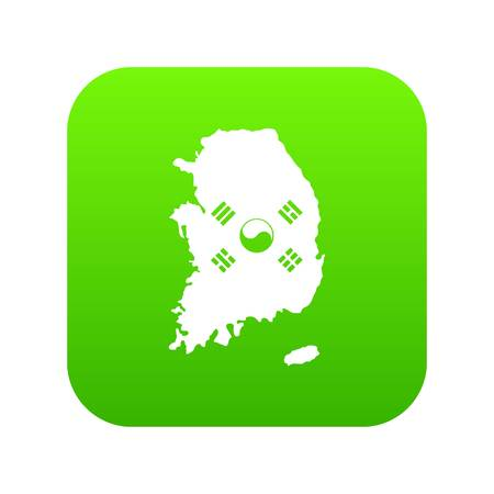 South Korea map with flag icon digital green