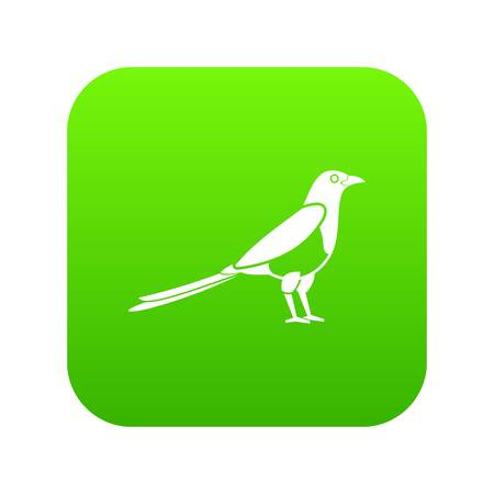 Bird magpie icon digital green