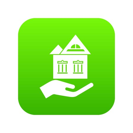 Home protection icon green vector