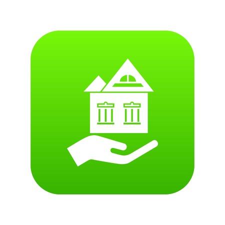 Home protection icon green vector