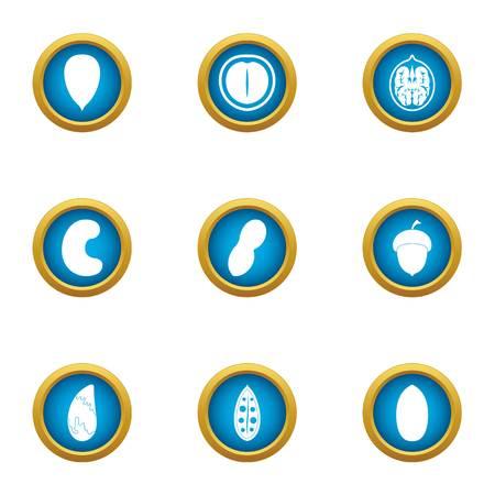Walnut icons set, flat style Illustration