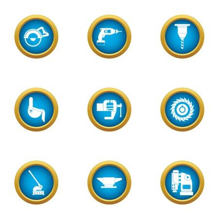 Produce a tool icons set, flat style