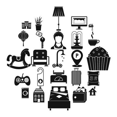 Small house for rest icons set, simple style