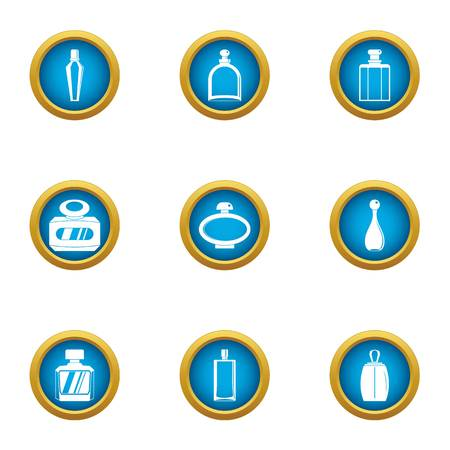 Delicious smell icons set, flat style