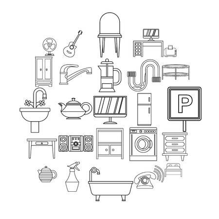 Lodging house icons set, outline style