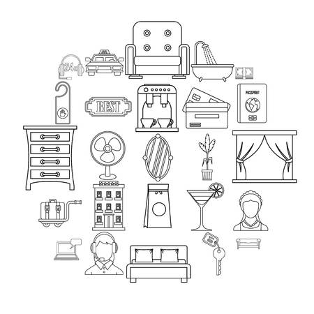 Lodging icons set, outline style Vectores
