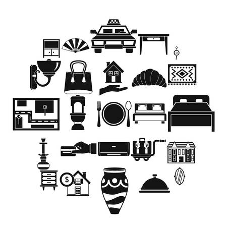 Tourist house icons set, simple style
