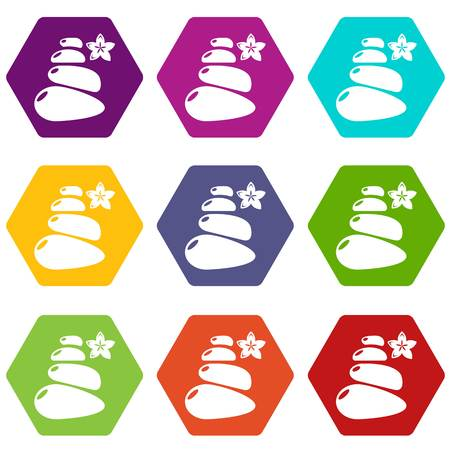 Spa balance stones icons set 9 vector Stock Illustratie