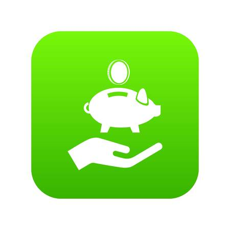 Money protection icon green vector Illustration