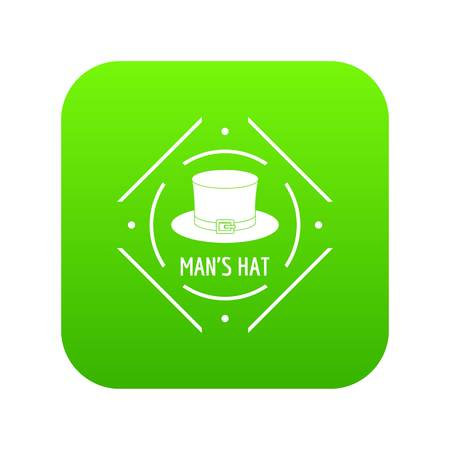 Cylinder hat icon green vector isolated on white background Illustration