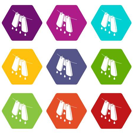 Pants drying icons 9 set coloful isolated on white for web