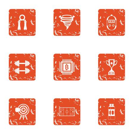 Sport assistance icons set. Grunge set of 9 sport assistance vector icons for web isolated on white background