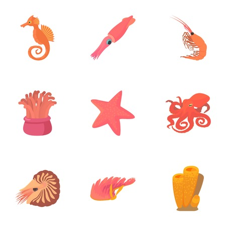 Sea dweller icons set. Cartoon set of 9 sea dweller vector icons for web isolated on white background
