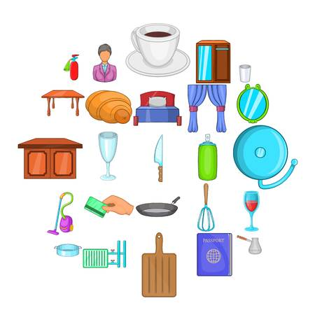 Boarding house icons set. Cartoon set of 25 boarding house vector icons for web isolated on white background Vectores