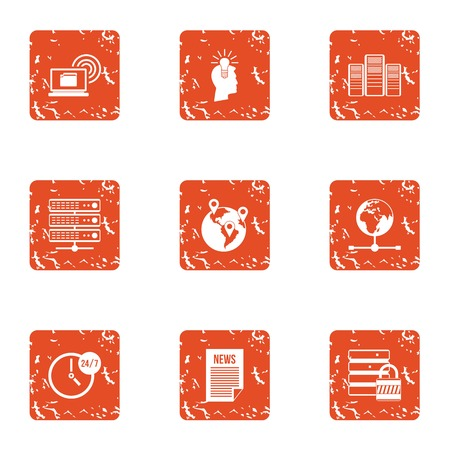 Whole day icons set. Grunge set of 9 whole day vector icons for web isolated on white background Vectores