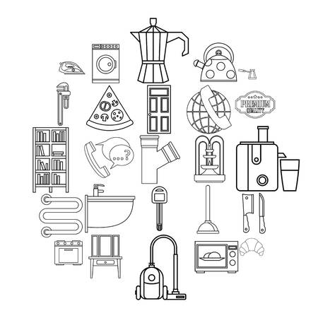 Rooming house icons set. Outline set of 25 rooming house vector icons for web isolated on white background