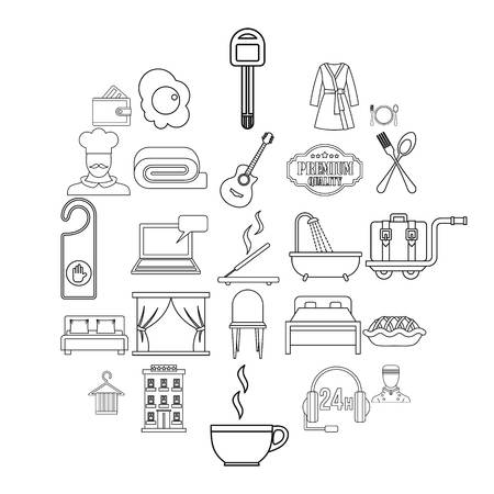 Hostel icons set. Outline set of 25 hostel vector icons for web isolated on white background  イラスト・ベクター素材